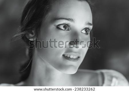 Portrait of beautiful dark-haired girl - stock photo