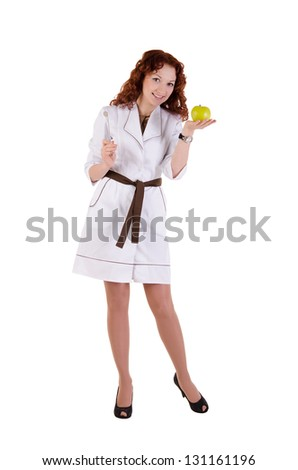 Portrait of beautiful doctor or nurse smiling isolated over white background - stock photo