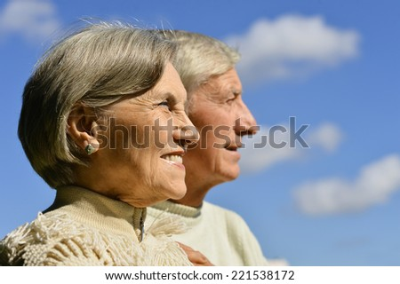 Portrait of beautiful elderly couple outdoor close-up