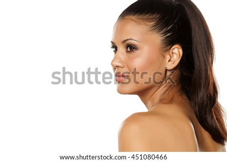 portrait of beautiful ethnic woman - stock photo
