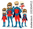 Portrait of beautiful family posing together in superhero costumes with cape - stock vector