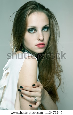 Portrait of beautiful female model - stock photo