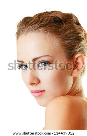 Portrait of beautiful female model face close up on white background - stock photo