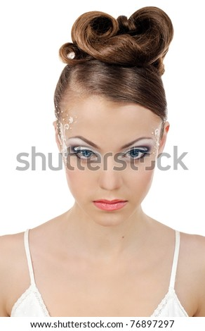 portrait of beautiful girl bride with coiffure and make up on white - stock photo
