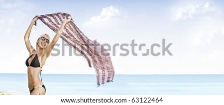 Portrait of beautiful girl having good time on tropical beach - stock photo