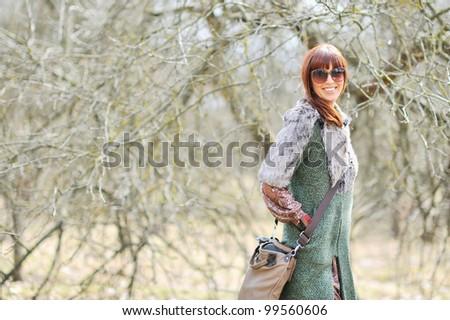 Portrait of beautiful girl in sunglasses - stock photo