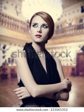 Portrait of beautiful girl indoor. - stock photo
