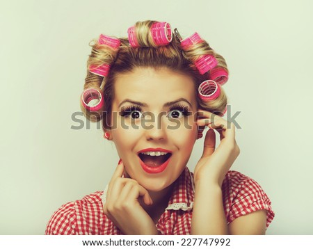 Portrait of beautiful girl model in pin up - stock photo