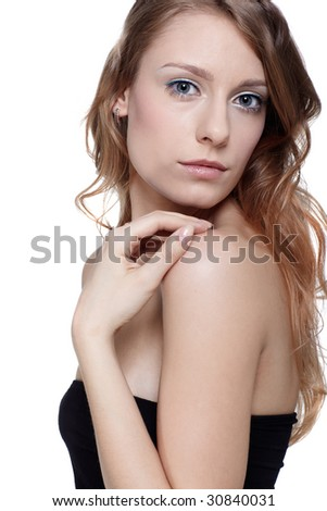portrait of beautiful girl model posing on white