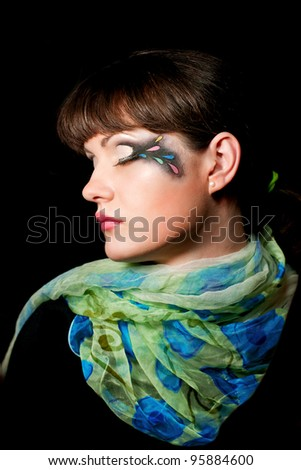 Portrait of beautiful girl model with fashion makeup - stock photo