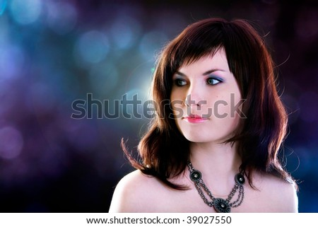 portrait of beautiful girl on the party background - stock photo