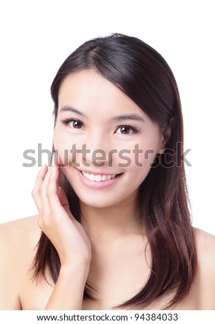 Portrait of beautiful girl touching her pretty face with healthy skin - white background, model is a asian beauty - stock photo