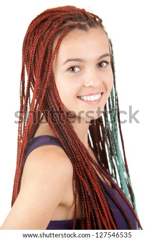 portrait of beautiful girl with african plaits, white background
