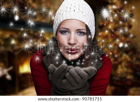 Portrait  of beautiful  girl with christmas atmosphere
