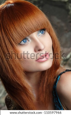 portrait of beautiful girl with curly hair luxuriant - stock photo