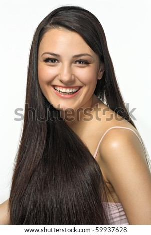 Portrait of beautiful girl with dark long hair - stock photo