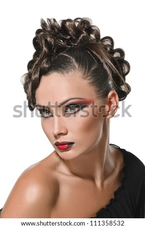 portrait of beautiful girl with elegant coiffure on white background - stock photo