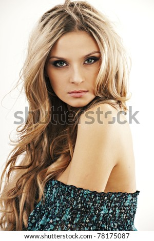 portrait of beautiful girl with naked shoulder - stock photo
