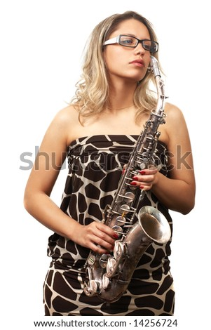 portrait of beautiful girl with saxophone on white (saxophone in bad condition)