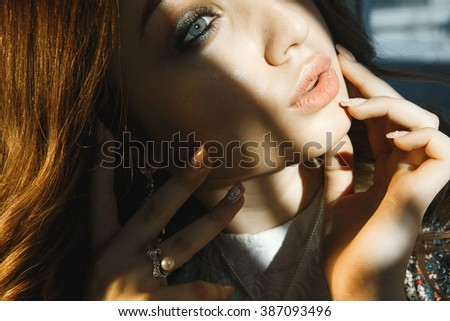 portrait of beautiful girl with sexy lips