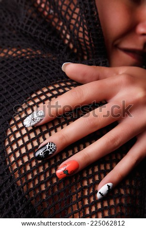 Portrait of beautiful Halloween nails