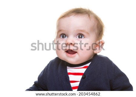 Portrait of Beautiful Happy Baby Girl in Blue White Red Outfit Isolated