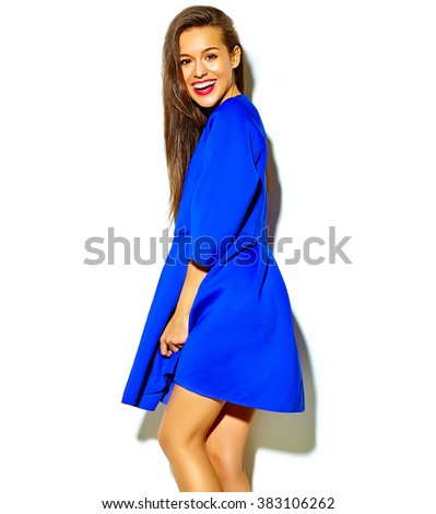 portrait of beautiful happy cute smiling sexy brunette woman girl in casual blue summer dress with red lips isolated on white - stock photo