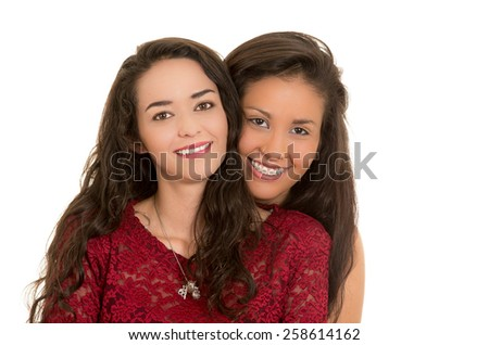 portrait of beautiful happy lesbian couple in love hugging isolated on white - stock photo