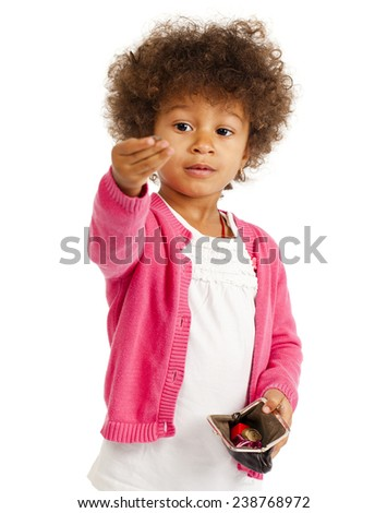 Portrait of beautiful happy little girl, isolated on white - stock photo