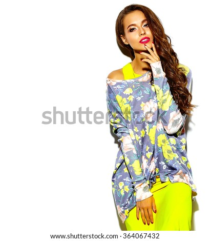 portrait of beautiful happy sexy cute brunette woman bad girl in summer hipster bright colorful yellow clothes with red lips - stock photo