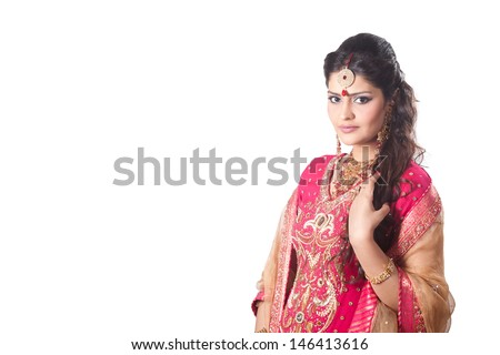 portrait of beautiful Indian bride with copyspace - stock photo