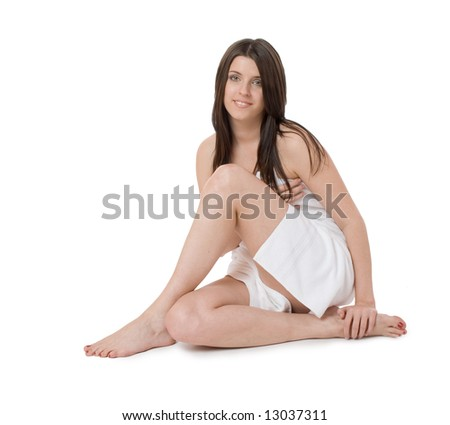 Portrait of beautiful lady isolated on a white background