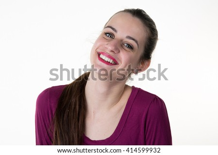 Portrait of beautiful laughing woman. Isolated