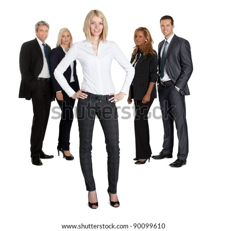 Portrait of beautiful leader on the background of business people - stock photo