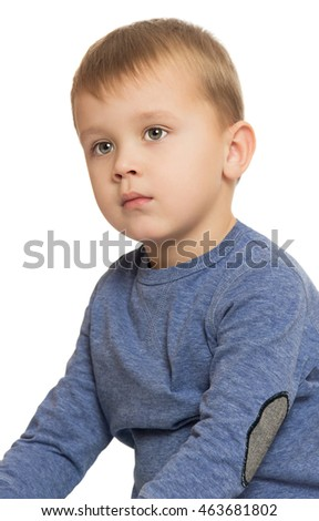Portrait of beautiful little boy in the blue shirt . close-up - Isolated on white background