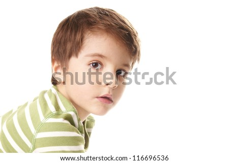 Portrait of beautiful little boy isolated on white background - stock photo