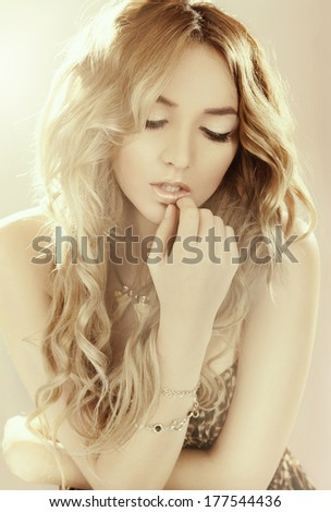 Portrait of beautiful, luxury romantic girl fashion model - stock photo