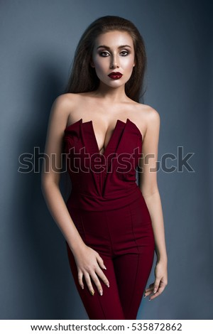 Portrait of beautiful model in fashion clothes