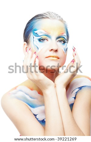 Portrait of beautiful model with butterfly body painting isolated on white