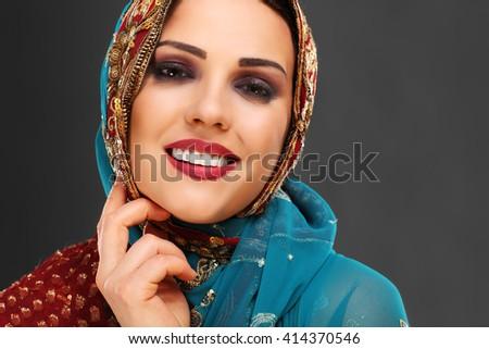 Portrait of beautiful mysterious oriental woman - stock photo