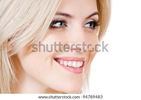portrait of beautiful peroxide blonde girl on white - stock photo