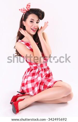 portrait of beautiful pinup woman - stock photo