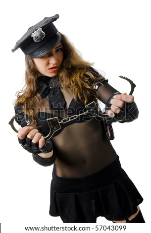 portrait of beautiful policewoman with handcuffs