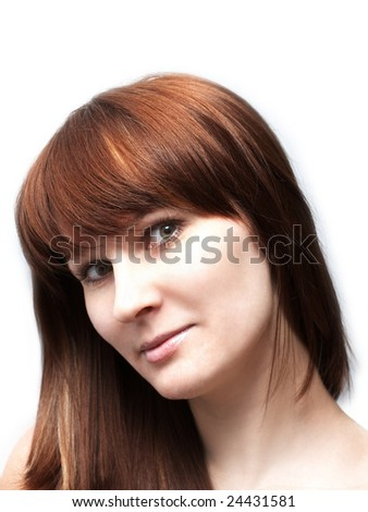 Portrait of beautiful red-haired woman - stock photo