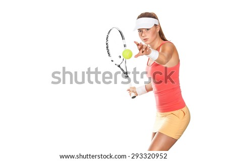 Portrait of beautiful redhead fit woman tennis player with a racket. Advertisement banner. - stock photo