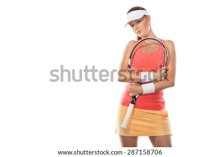 Portrait of beautiful redhead fit woman tennis player with a racket. Tennis banner. - stock photo
