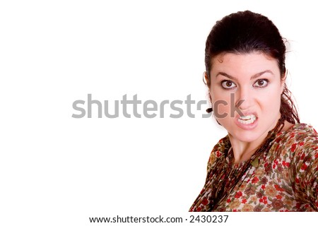 Portrait of beautiful redhead woman with angry expression. - stock photo