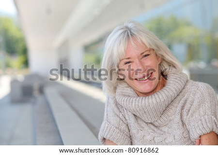 Portrait of beautiful senior woman - stock photo