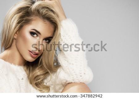 Portrait of beautiful sensual blonde woman  - stock photo