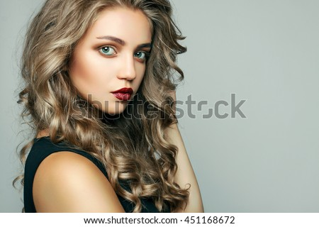 Blonde Girl Hairstyle : Beautiful girl long wavy hair blonde stock photo 511753855
